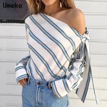 One Shoulder Tops Sexy Long Sleeve Bow Shirts Blue Red