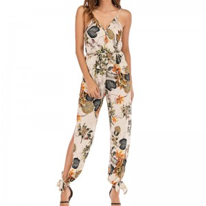 Sleeveless V-Neck Jumpsuits Floral Bodysuit Wide Leg Loose Long Pants Black White Red