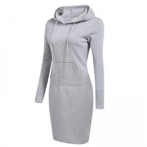 Hooded Drawstring Fleeces Women Dresses Black Wine Gray