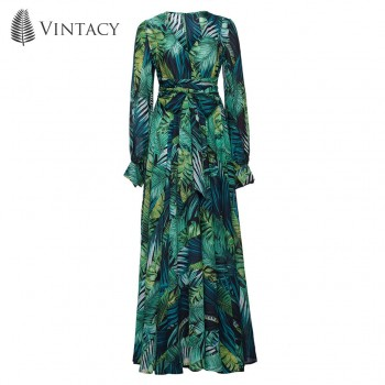 Long Sleeve Dress Green Tropical Beach Vintage Maxi Dresses V Neck Belt Lace Pink
