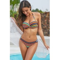 Orange Boho Stripes Push up Bikini Set Yellow Black Sky Blue Green