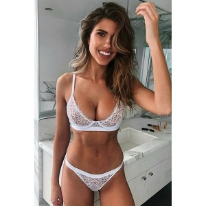 White Romantic Night Lace Bralette Lingerie Set Yellow