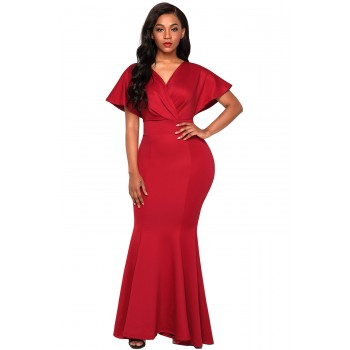 Red Off The Shoulder Mermaid Maxi Dress