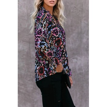 Multicolor Split Neck Printed Blouse Black Blue Rose