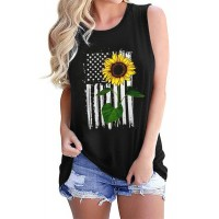 Sunflower American Flag Star Casual Tank
