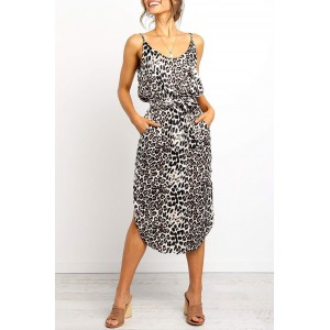 Black Stylish Leopard Printed Midi Dress White
