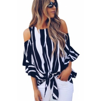 Red Cold Shoulder Vertical Stripes Blouse Black Pink Sky Blue