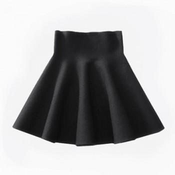 Skirt Knitting Woolen Midi Skirt Ladies High Waist  Pleated Elastic Flared Red Black Green Blue Gray