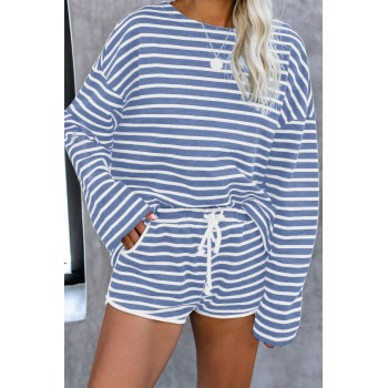 Blue Striped Lounge Long Sleeves Shorts Set Gray