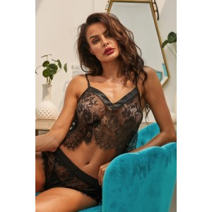 Black Dreamer Cami Knicker Lingerie Set