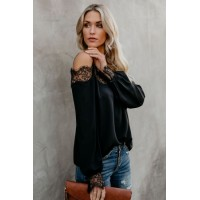 Black Trixie Lace Cold Shoulder Blouse White