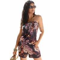 Purple Strapless Floral Print Romper Overall Blue Brown