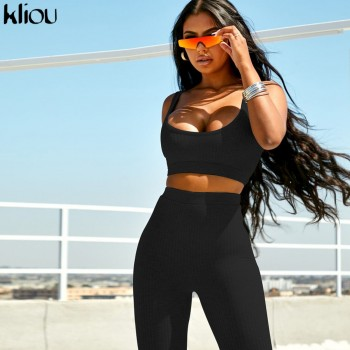 Kliou women fitness tracksuit 2 pieces set slim crop top + padded sporting leggings active wear outfits skinny stretch outwear