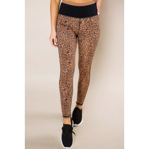Mocha Leopard Print Active Leggings Purple