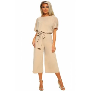 Black Always Chic Belted Culotte Jumpsuit Blue Apricot Sky