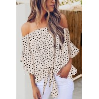 White Polka Dot 3/4 Bell Sleeve Off Shoulder Front Tie Knot Top Sky Blue Black