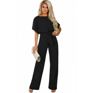 Black Oh So Glam Belted Wide Leg Jumpsuit Blue Apricot Orange