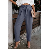Sky Blue Pocketed Paper Bag Waist Pants