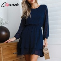 Casual Elegant Long Sleeve Polka Dot Dress Solid Short Summer Chiffon Dress Blue