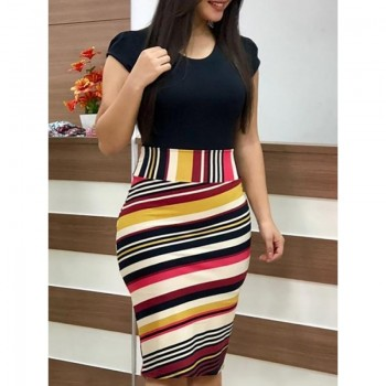 Elegant Floral Pencil Dresses Evening Party Print Women Dress Bodycon Red Green Multi