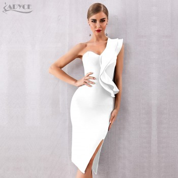 One Shoulder Ruffles Bandage Club Dress Black Apricot Red White