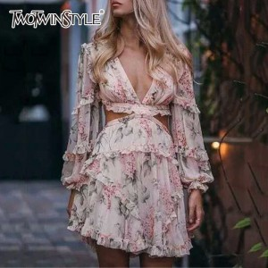 Print Dress Female Chiffon V Neck Hollow Out Lantern Sleeve High Waist Mini Dresses Pink