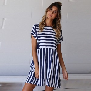 Summer Beach Dress A-Line Striped Short Sleeve O-Neck Print Dress Blue Khaki