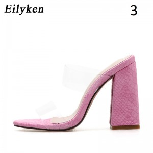 Eilyken Sexy PVC Transparent Leopard grain Ladies Slippers Summer Fashion Party High heels Shoes Gladiator Slides Sandals Women