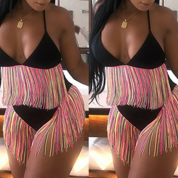 2019 New Women Summer Sexy Bandage Tassles Bikini Set Push-up Padded Bra High Waist Lace Up Bathing Suit Swimsuit Beachwears