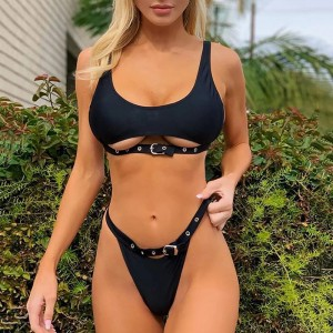 Neon Green High Waist bikini 2019 Adjust Strap Swimsuit women Thong Swimwear Female Two pieces bikini set Brazilian Bathing Suit