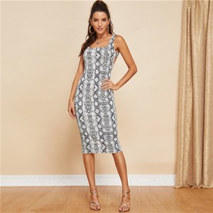 Backless Snake Skin Print Sleeveless Skinny Club Dress Gray