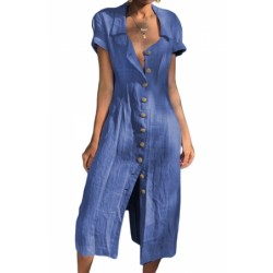 Black Summer Buttoned Casual Shirt Maxi Dress Blue White