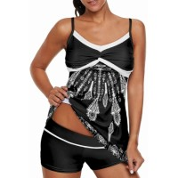 Black Twist Pleated Bust Flared Tankini Set Swimsuit Purple