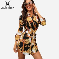 Sleeve Chain Print Women Blouses And Tops Lapel Lace-Up Button Black Green Red Burgundy White