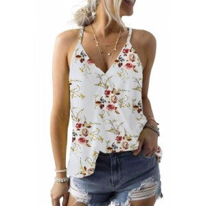 Tropical Plant Print Tank Top