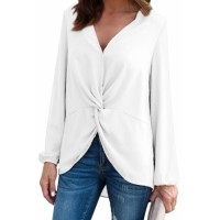 White Long Sleeve Twist Front Slit Blouse