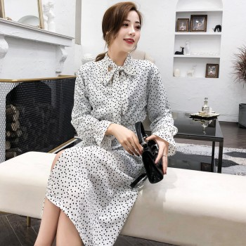 Collar Polka Dot Chiffon Women Dress Flare Sleeve Side Split Gray Red Black White