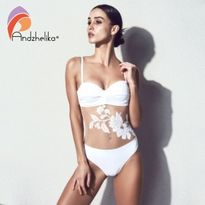 Andzhelika Floral Mesh One Piece Swimsuit Women 2020 Summer Bandeau Push Up Swimwear Bathing Suit Plus Size Swimwear Monokini