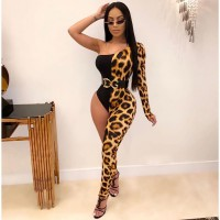 Adogirl Leopard Print Patchwork Women One Leg Jumpsuit Sexy One Shoulder Long Sleeve Skinny Romper Night Club Overalls Bodysuits
