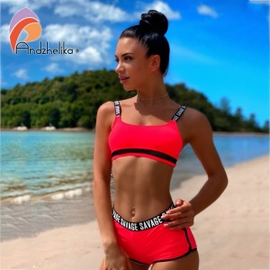 Andzhelika Bikinis Women Letter Sport Swimsuit Soft cup Bikinis Set Summer Sexy Brazilian Bikini Swimwear Bathing Suit Biquini