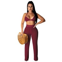 Adogirl 2019 Summer Fishnet Knitted Two Piece Set Women Sexy See Through Night Club Suits Bra Top Pants Casual Beach Outfits