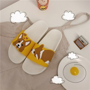 Summer Cartoon Women Shoes Kawaii Dog Animal Slippers Comfort Rubber Sliders Outside Indoor Sandals Cute Students Slip On Female