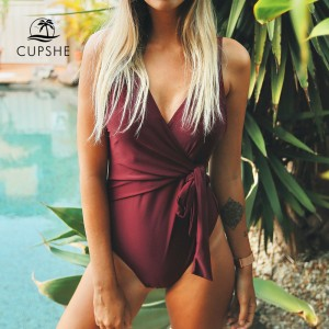 Solid Low Back One-piece Swimsuit Women Burgundy Deep V neck Monokini