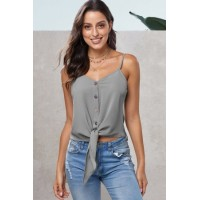 Black Buttoned Knot Front Slip Tank Green Gray White