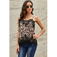 Leopard Adjustable Lace Cami Tank White Black