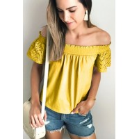 Yellow Solid Shirring Off Shoulder Hollow out Top Pink Black