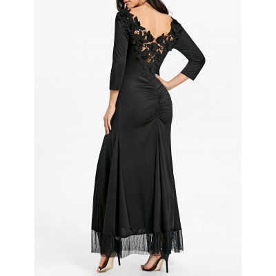 Backless Back Ruched Lace Dress - Black