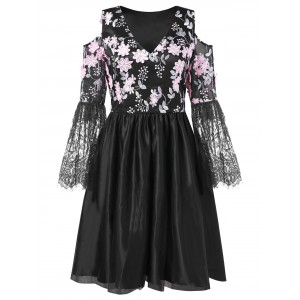 Floral Embroidered Cold Shoulder A Line Dress - Black