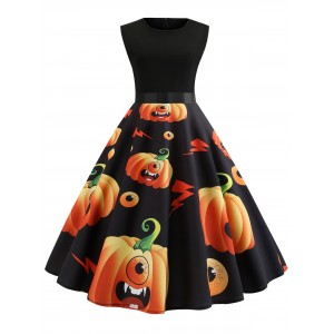 Halloween Pumpkin Print Pin Up Dress - Black