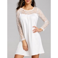 Lace Panel Mini Long Sleeve Shift Dress - White